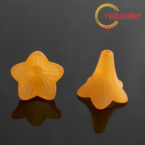 Květina akrylová dlouhá 22mm oranžová, 2ks