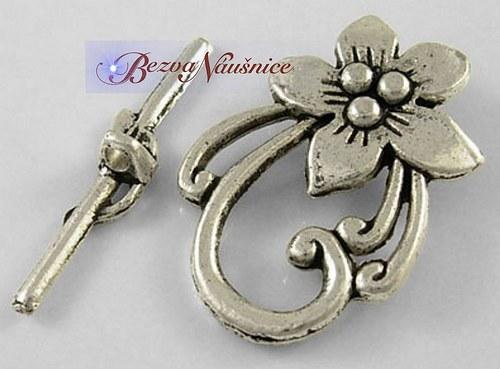 Americké zapínání květina - barva antique silver
