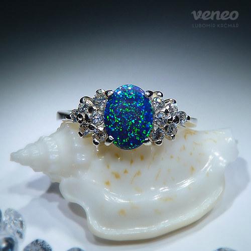 Princezna - prsten s amazonským opálem a zirkony