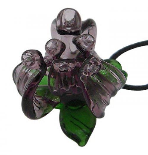 0600210/Skleněný fialový květ, 1 ks
