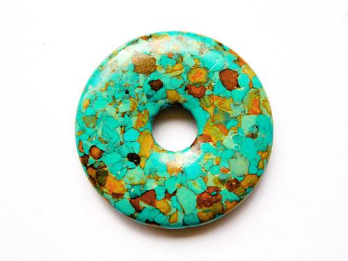 Zelenotyrkysový mramorovaný donut ((PM203))