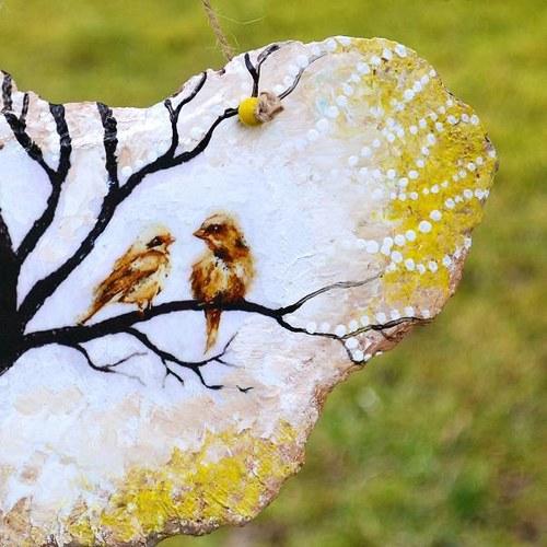 Břidličný obrázek - Zamilovaní ptáčkové