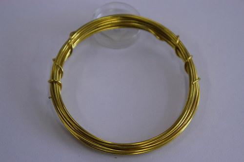 Měděný drátek 1mm - zlatý, návin 3,8-4m