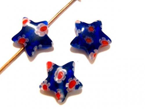 1101327/Hvězda Millefiory tm. modrá s květy, 1