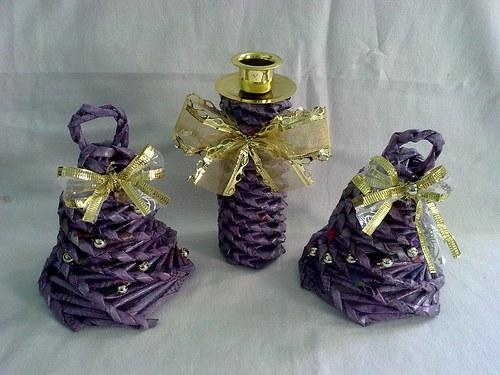 Fialová sada-2 zvonečky+svícínek