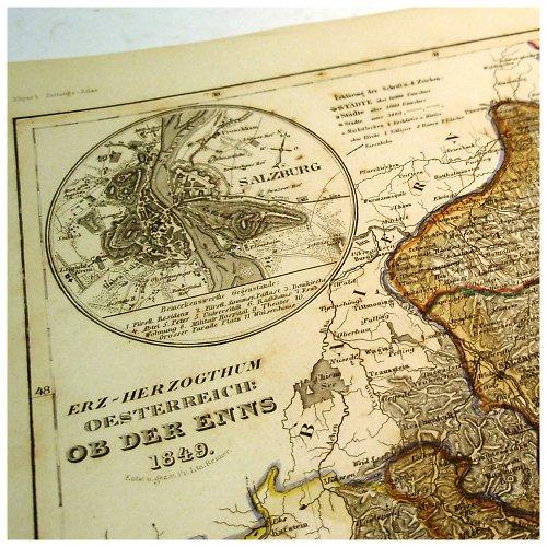 Historická mapa z roku 1850 RAKOUSKO č.1058
