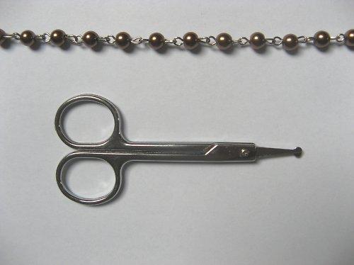 Ketlovaný řetízek s hnědými voskovanými perlami