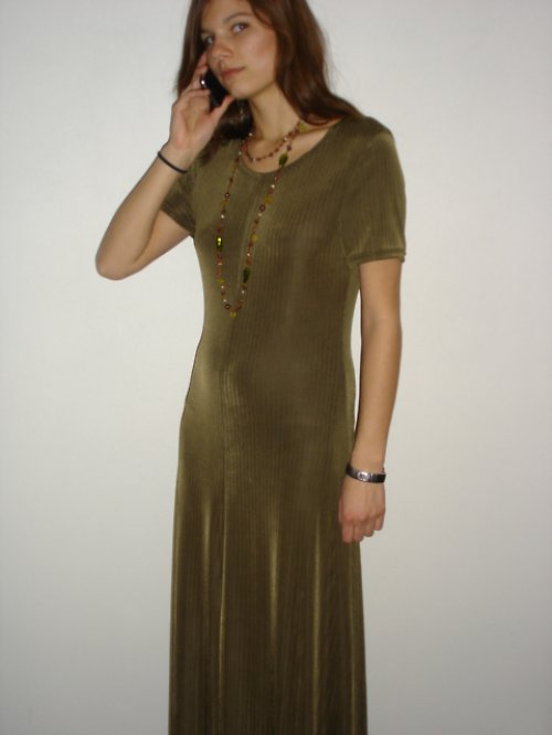 olivové dlouhé šaty vel.36-38