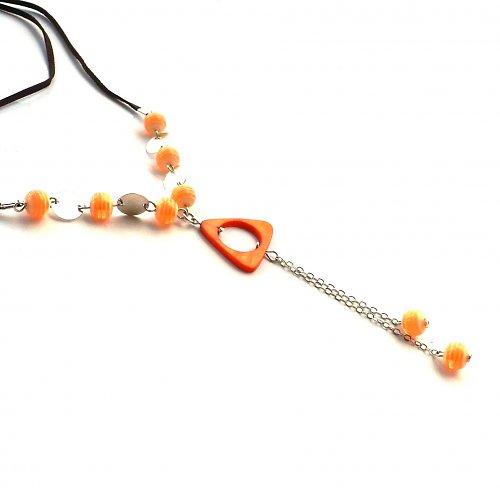 Oranžový delší náhrdelník - 20% sleva!!!