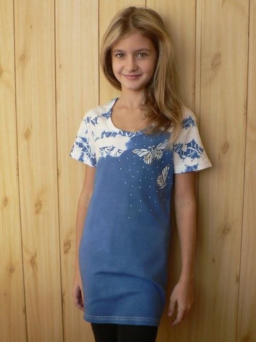 Dívčí (dámské) tričko v modré - velikost S