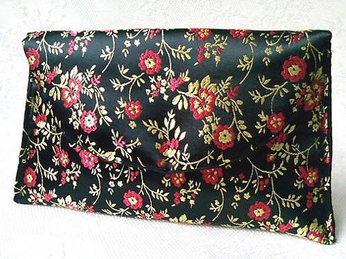 Vintage Japanese pochette (black/gold/red)