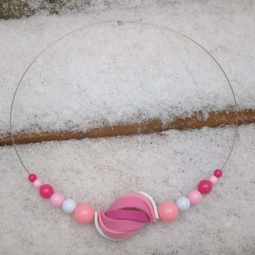 náhrdelník ulita růžovobílá