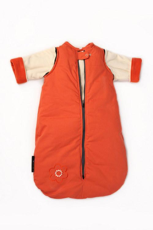 spací pytel menší s fleecovými rukávy oranž-bílý