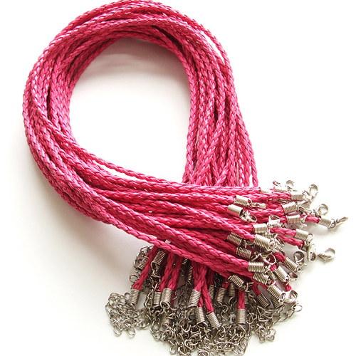 Splétaná šňůrka náhrdelníková starorůžová - 5 ks
