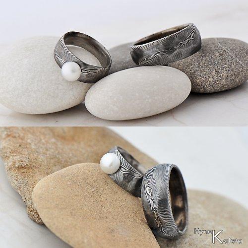 Snubní prsten damasteel - Rocksteel a perla