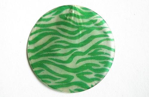 180 perleťové placky tenké- zelená zebra