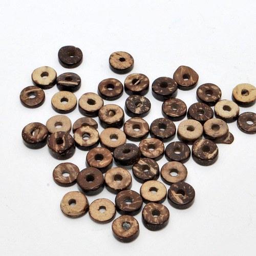 Kokosové heishi hnědé volné malé / 30 ks