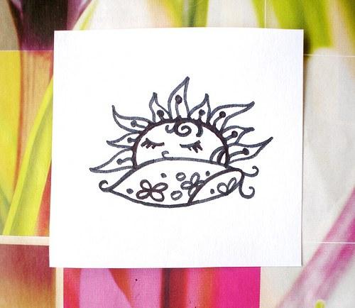 Sluníčko spinká na polštáři... Omyvatelné razítko.