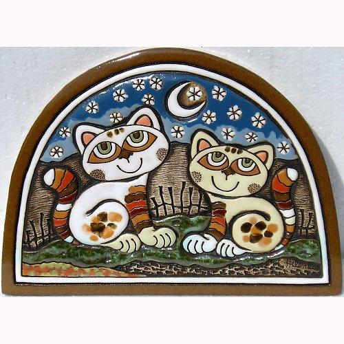 Keramický obrázek - Kočky v lunetě K-128-N1