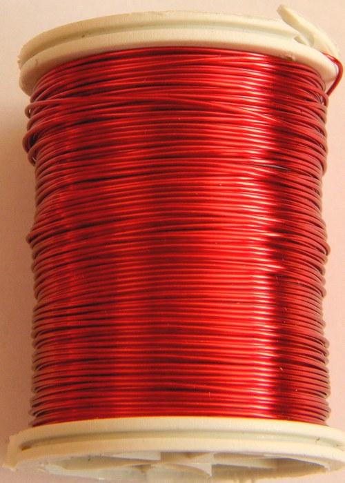 Měděný lakovaný drát  0,6 mm červený
