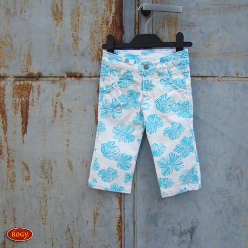 SLEVA dívčí plátěné kalhoty, bílé s azuro květy