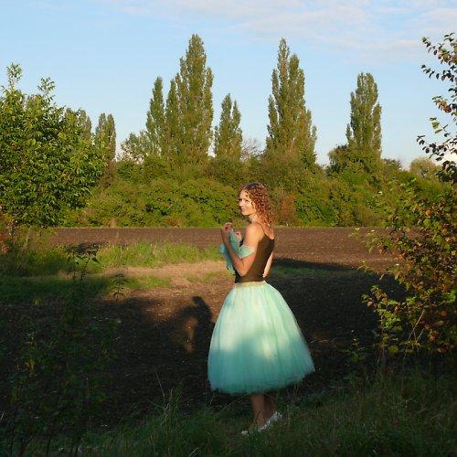 Zelená tylová sukně