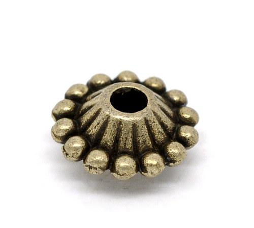 korálek kov UFO/ antický bronz/ 11x5mm/ 6ks