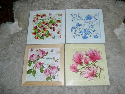 Obrázek - cibulák, jahody, magnolie, růže