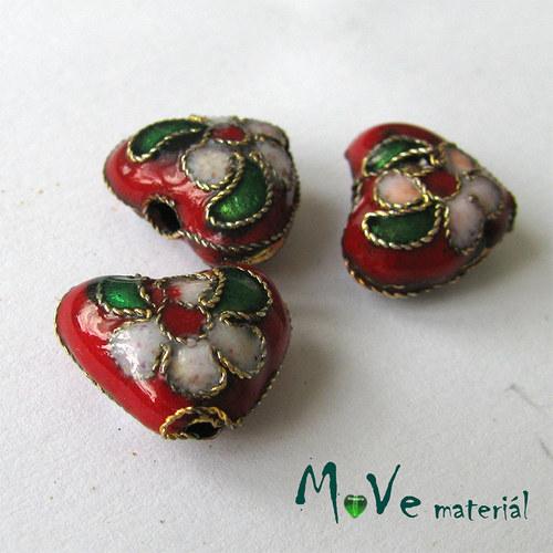 Korálky srdce CLOISONNE červený 12mm, 2ks