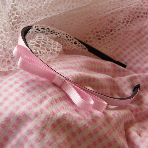 Světle růžová čelenka s mašlí