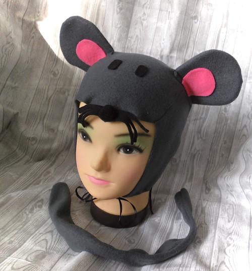 myška maska-čepička+ocásek-tm.šedá