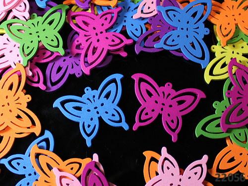 22056 Dřevění maxi motýlci 50mm! MIX, bal.3ks