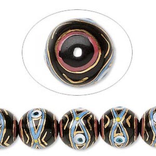 0200051/Černá kulička s okem ručně malovaná