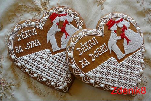 Svatební srdce děkovné v červené - balené