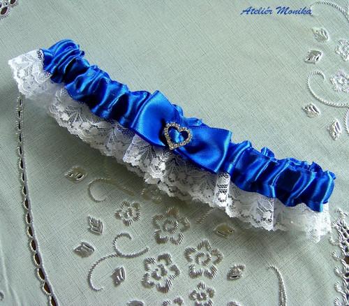 Svatební podvazek - modrý se srdíčkem