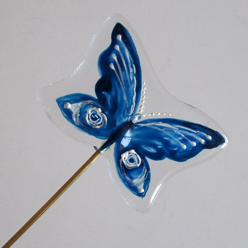 """Skleněný zápich \""""Motýlek modrý\"""""""