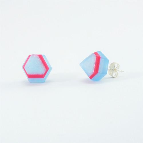Náušnice krystal iceland blue/magenta