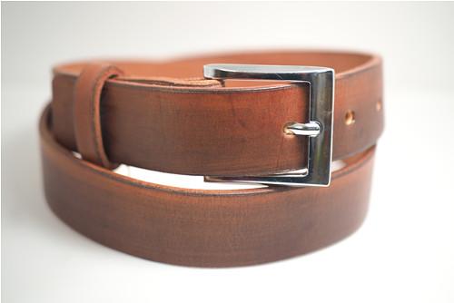 Kožený pásek 3,5 cm-hnědý kaštan -SKLADEM