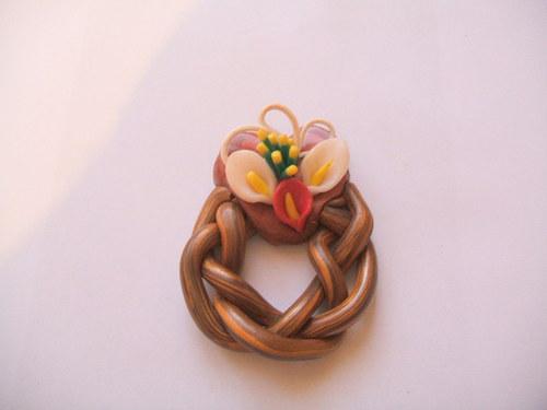 dekorace-věneček s květinou 1( D 6003)