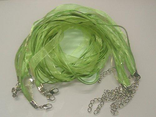 Organza šňůrka voskovaná 4+1 zelená neon