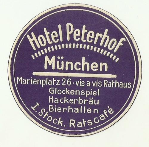 Hotelové nálepky Hotel Peterhof Munchen