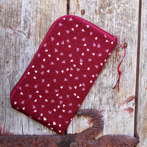 obal na mobil se zipem -základní -bordó srdíčka
