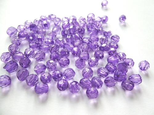 Korálky akrylové broušené fialové 5,2mm/50ks