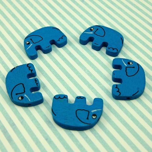 dřevěný korálek slon velký modrý