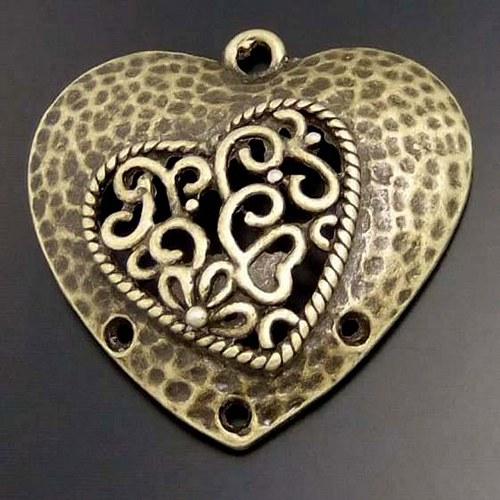 Srdce Vintage - Bronzové