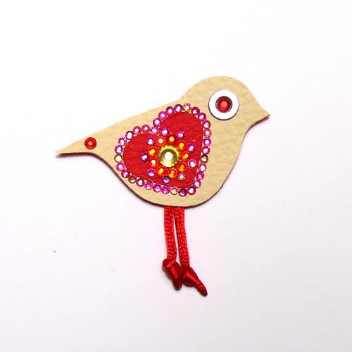 Brož ptáček Valentýn
