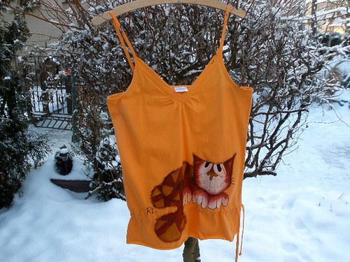 Oranžové triko na ramínka kočka