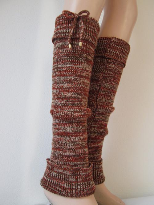 Návleky na nohy - béžovoskořicovohnědé