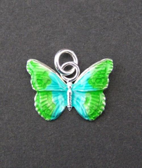 Zelenomodrý barvený motýl - přívěsek ze stříbra