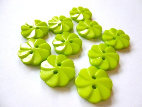Knoflíčky kytičky jarní zelené 5ks